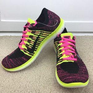 Nike Free RN Flyknit Pink Black Sneakers Sz 6Y